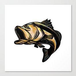 Largemouth Bass Scratchboard Canvas Print