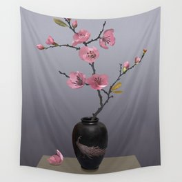 Flowering Pink Quince Wall Tapestry