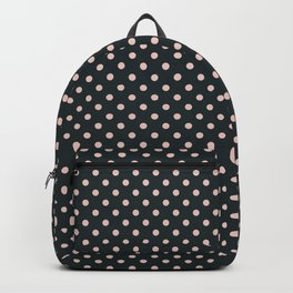 Small pink polka dots on a black background. Backpack