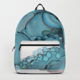 Teal Bubble Alcohol Ink Painting Backpack