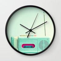 radio Wall Clocks featuring Radio Days  by Caroline Mint
