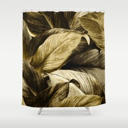 Gold Palm Leaves on Black - Tropical Vibes Shower Curtain