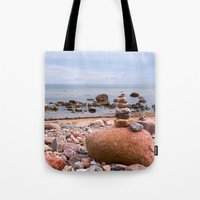 geology Tote Bags featuring At the beach by UtArt
