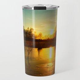 Winterlandscape with sunset Travel Mug
