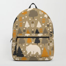 Bears in a winter forest Backpack
