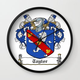 Family Crest - Taylor - Coat of Arms Wall Clock