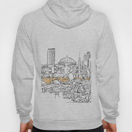 Modern and old Istanbul panorama drawing Hoody