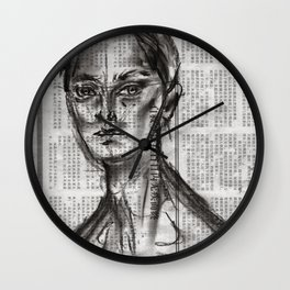 Alert - Charcoal on Newspaper Figure Drawing Wall Clock