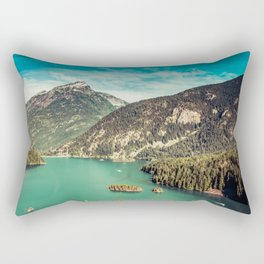 Lake Diablo - Blue and Green Water and Trees Rectangular Pillow