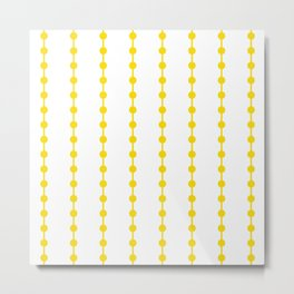 Geometric Droplets Pattern Linked - Summer Sunshine Yellow on White Metal Print