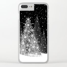 Elegant Black and White Christmas Trees Holiday Pattern Clear iPhone Case