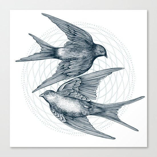Two Swallows Canvas Print