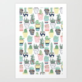 Cute Cacti in Pots Art Print