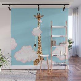 Giraffe Enjoy yummy Cloud Candy Wall Mural