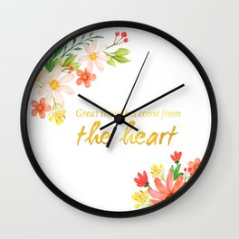 Great Thoughts come from the heart - Gold and flowers Wall Clock