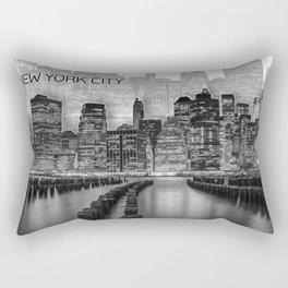 MANHATTAN Skyline | Graphic Art | white Rectangular Pillow