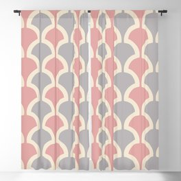 Classic Fan or Scallop Pattern 418 Gray and Dusty Rose Blackout Curtain