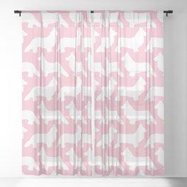 Pink Welsh Corgi Silhouette Sheer Curtain