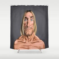 iggy Shower Curtains featuring Celebrity Sunday ~ Iggy Pop by rob art | illustration