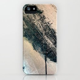 Honey 2: a pretty, minimal abstract mixed-media piece in blue, gold, and pink iPhone Case