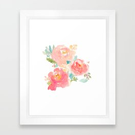 Watercolor Peonies Summer Bouquet Framed Art Print
