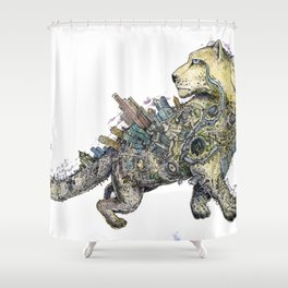 Independent leopard as a symbol of Kazakhstan Shower Curtain
