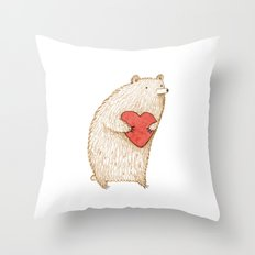 Bear with Heart Throw Pillow