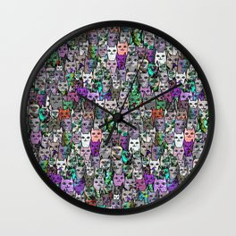 Gemstone Cats UltraViolet Green Palatte Wall Clock