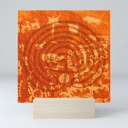 Newspaper Rock with Stylized Labyrinth Mini Art Print