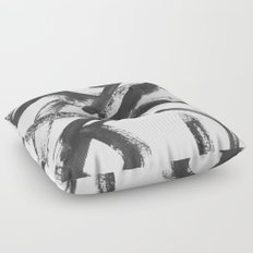Interlock black and white paint swirls Floor Pillow