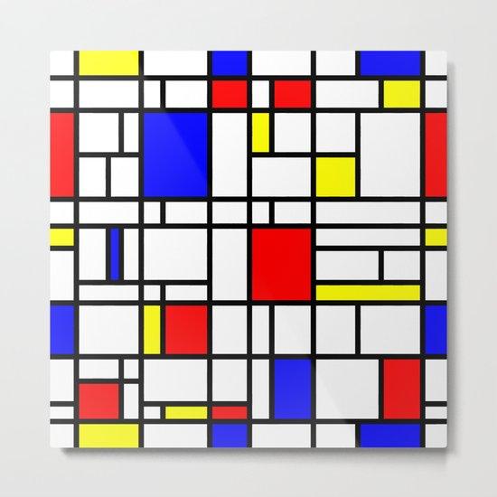 Modern Art Red Yellow Blue Grid Pattern Metal Print