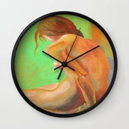 Young Beautiful Nude Woman At Dawn Wall Clock