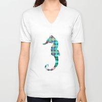seahorse V-neck T-shirts featuring SEAHORSE by Monika Strigel