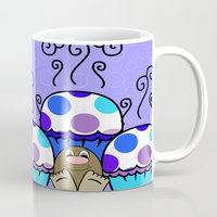 polkadot Mugs featuring Cute Monster With Blue And Purple Polkadot Cupcakes by Mydeas