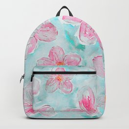 Hand painted teal fuchsia watercolor floral Backpack