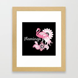 Pink Flamingo Girly Cute Black Framed Art Print