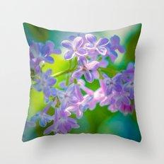 Purple Lilac Flowers Throw Pillow