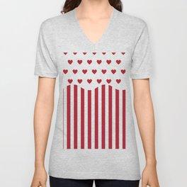 Valentines Day popcorn - white and red Unisex V-Neck