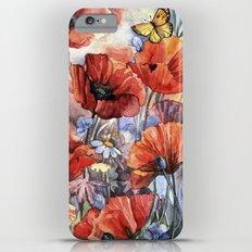watercolor poppies iPhone 6s Plus Slim Case