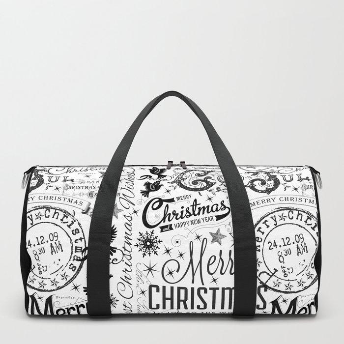 Black and White Christmas Typography Design Duffle Bag