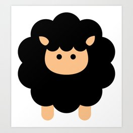 Cute Sheep, Cartoon Sheep, Baby Sheep, Black Sheep Art Print