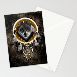 Indian Native Gray Wolf Dreamcatchers Stationery Cards