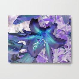 Contemporary Teal Aqua Lilac Lily Flower Art A120 Metal Print