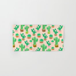 Potted Cactus & Pink Drawing Hand & Bath Towel