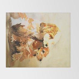 two dogs spaniel Throw Blanket