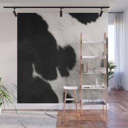 Cowhide animal skin art, spotty black Wall Mural