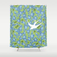 swallow Shower Curtains featuring White Swallow by Laurie Spugnardi