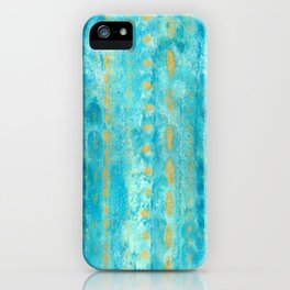Gold in Deep Turquoise watercolor art iPhone Case