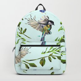 Geometric Nature with Birds Pattern (blue tit and goldcrest) Backpack