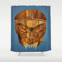 buffy Shower Curtains featuring Buffy - Dead Man's Party Mask by BovaArt